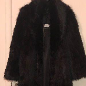Peace + Love Maxi Fur Coat- Black